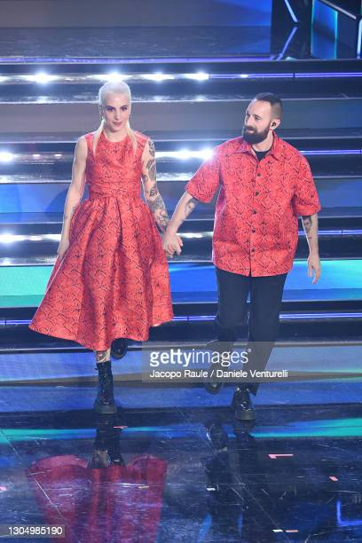 Coma Cose performs at the 71th Sanremo Music Festival 2021 at Teatro Ariston on March 02, 2021 in Sanremo, Italy.