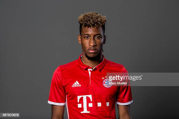 Coman Kingsley of FC Bayern Munich pose during the team presentation on August 10 2016 in Munich Germany