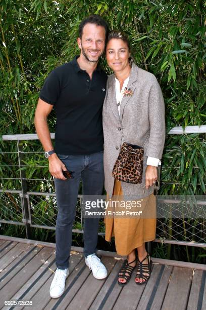 CoManager of Etam Group Laurent Milchior and his wife Stephanie attend the 2017 French Tennis Open Day Height at Roland Garros on June 4 2017 in...