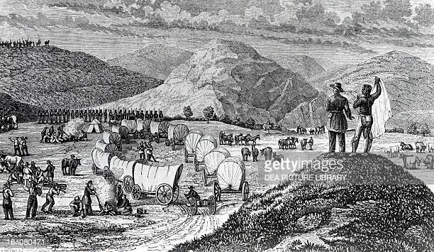 Comanche Indian camps engraving Indian wars United States 19th century