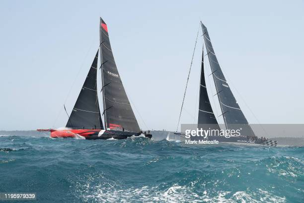 Comanche leads Black Jack racing through the heads as it leaves Sydney Harbour during the 2019 Sydney to Hobart on December 26 2019 in Sydney...