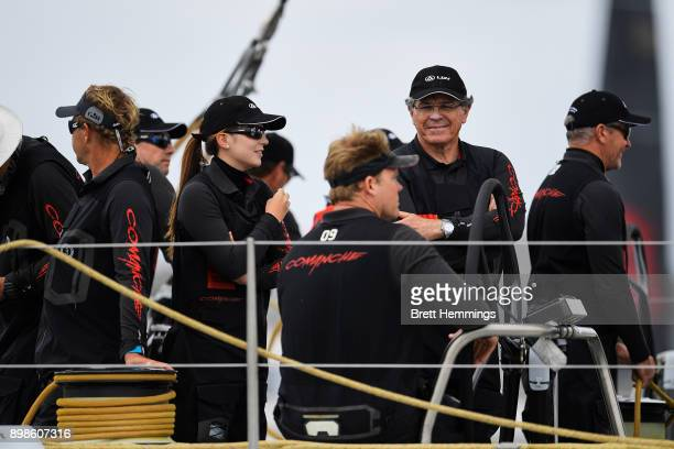 Comanche owner Jim Cooney is pictured as they prepare to sail out of Sydney Harbour during the 2017 Sydney to Hobart on December 26 2017 in Sydney...