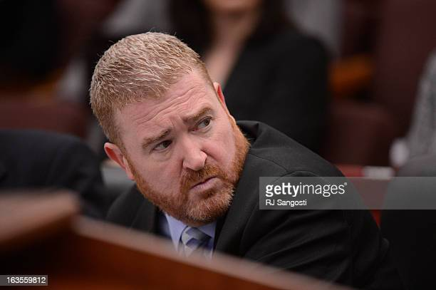 Defense attorney Daniel King during the proceedings where District Court Judge William Sylvester entered a Not Guilty plea on behalf of Holmes The...