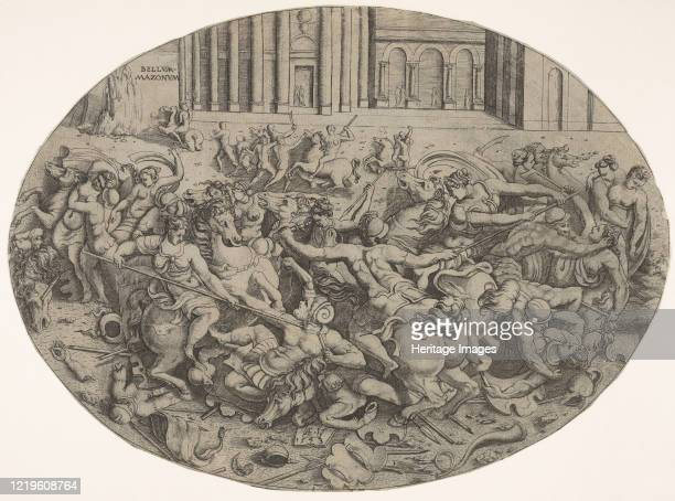 Combat between Amazons and men in front of architectural arcades, an oval composition with weapons, headgear, and bodies strewn along the bottom...