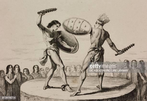 Combat between gladiators Mexico engraving by Vernier from Mexique et Guatemala by De Larenaudiere Perou by Lacroix L'Univers Pittoresque published...
