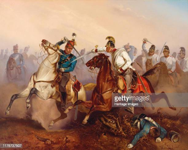 Combat between Imperial Austrian Dragoons and Hungarian Honvéd Hussars during the War of Independence in Hungary on 1849, 1854. Private Collection....
