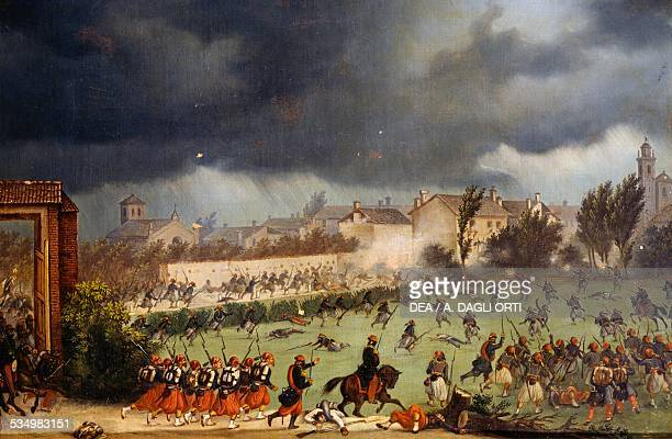 Combat during the Battle of Solferino June 24 by Antonio Spandri oil on canvas Second Italian War of Independence Italy 19th century Brescia Museo...