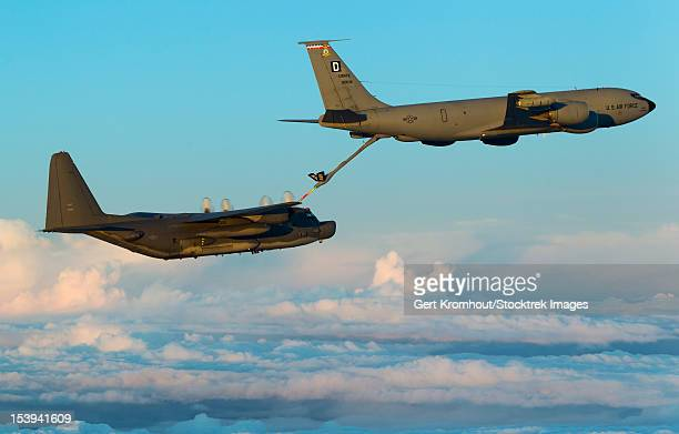 A MC-130H Combat Talon II being refueled by a KC-135R Stratotanker.