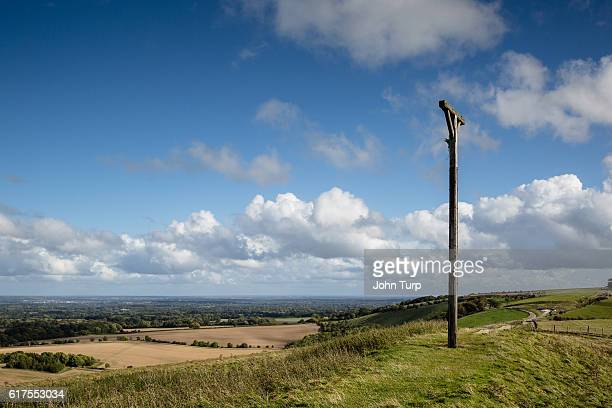 combe gibbet view - berkshire downs stock pictures, royalty-free photos & images
