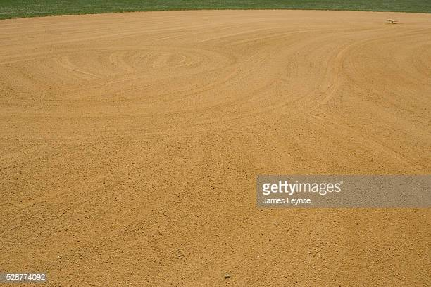 Combed gravel on an empty baseball field in New Jersey