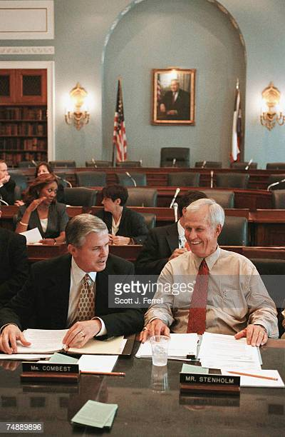 COMBESTHouse Agriculture Chairman Larry Combest RTexas and ranking Democrat Charles W Stenholm DTexas prepare for a briefing with committee members...