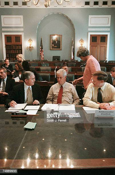 COMBESTHouse Agriculture Chairman Larry Combest RTexas left and ranking Democrat Charles W Stenholm DTexas middle prepare for a briefing with...