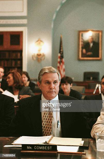 COMBESTHouse Agriculture Chairman Larry Combest RTexas prepares for a briefing with committee members Agriculture Secretary Ann M Veneman and US...