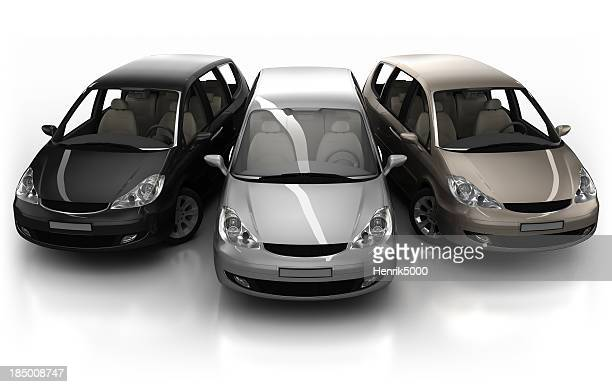 3 Combi cars in studio - isolated with clipping path
