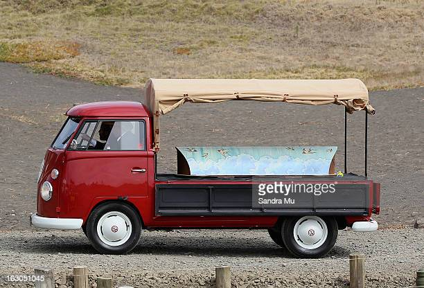 A combie arrives with the body of Adam Strange the victim of a fatal shark attack at Muriwai Beach on March 4 2013 in Auckland New Zealand Adam...