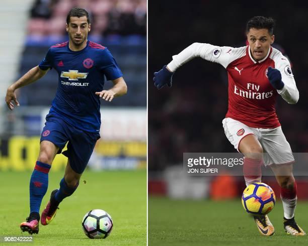 A combination image shows Manchester United's Armenian midfielder Henrikh Mkhitaryan and Arsenal's Chilean striker Alexis Sanchez Arsenal forward...