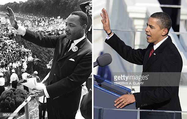 A combination image shows US civil rights leader Martin Luther King Jr as he waves to supporters on August 28 1963 from the Mall in Washington DC...
