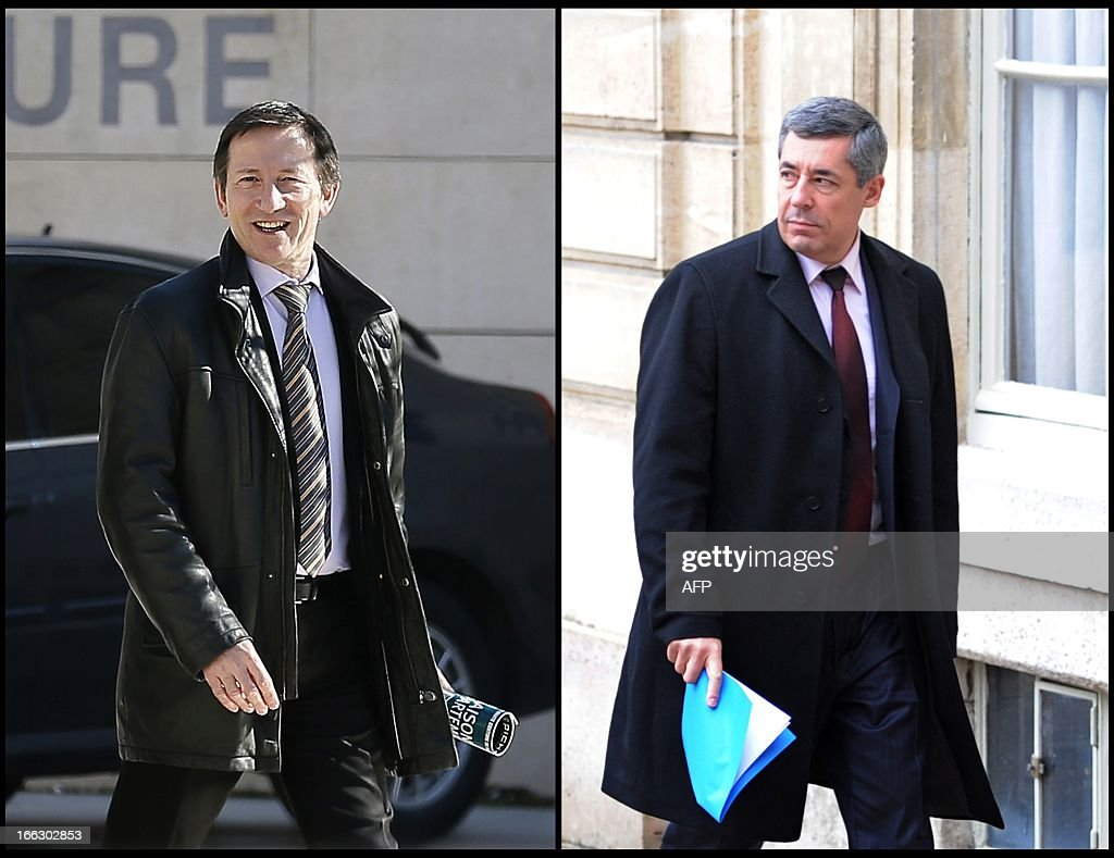 A combination made of file pictures on April 11, 2013 shows French magistrate Jean-Michel Gentil (L), as he arrives at the Bordeaux's courthouse on February 19, 2013, and French President Nicolas Sarkozy's advisor Henri Guaino, as he arrives at the Elysee palace in Paris on December 22, 2009. The French public prosecutor has launched an investigation following the complaint of the Union of Magistrates (USM) after right ring UMP member of Parliament Henri Guaino's statement regarding the judge Jean-Michel Gentil. Guaino declared Gentil had 'dishonored justice' after the latter charged former French president Nicolas Sarkozy for taking advantage of the elderly L'Oreal heiress Liliane Bettencourt.