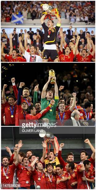 A combination made on July 1 2012 shows files pictures showing Spanish goalkeeper Iker Casillas holding the Euro 2008 championships trophy on June 29...