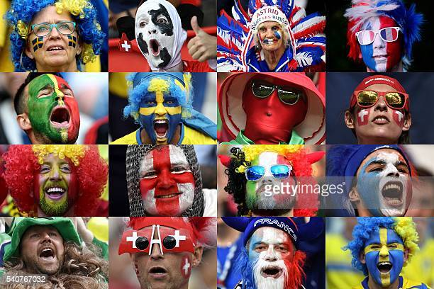 Combination made on June 16, 2016 shows close ups of fans from various countries participating in the Euro 2016 football tournament in France. / AFP...