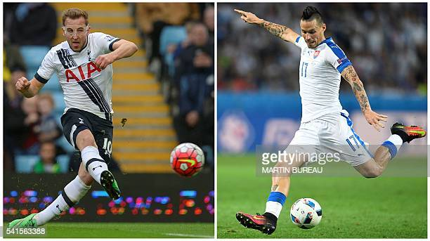 A combination made on June 17 2016 shows Slovakia's midfielder Marek Hamsik shooting during the Euro 2016 group B football match between Russia and...