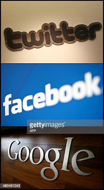 A combination made on March 25 2014 shows pictures of the logos of the companies Twitter taken on March 11 Facebook taken on May 10 2012 and Google...
