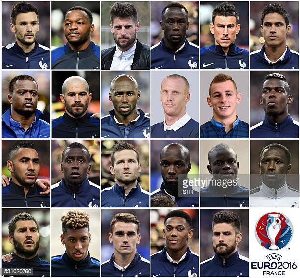 A combination made on May 12 2016 shows the pictures of the 23 players named in France squad for the Euro 2016 European football championships...