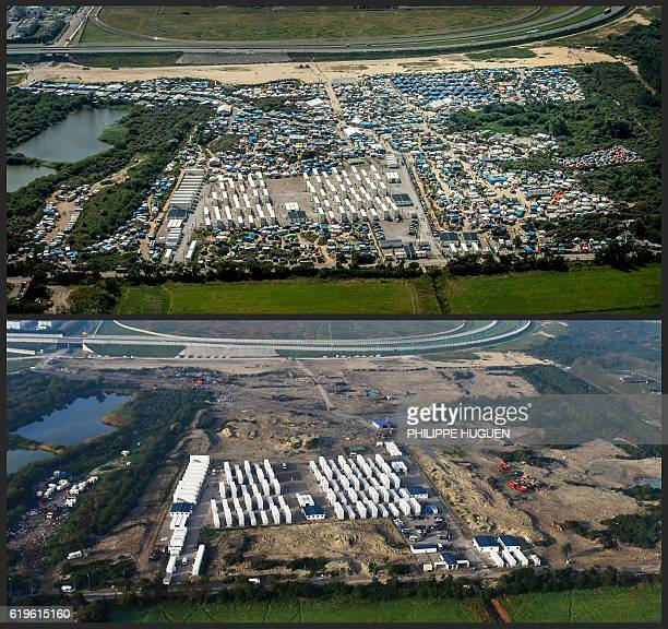 TOPSHOT A combination made on November 1 2016 shows two aerial views of the 'jungle' camp in Calais northern France one taken on August 16 2016 when...