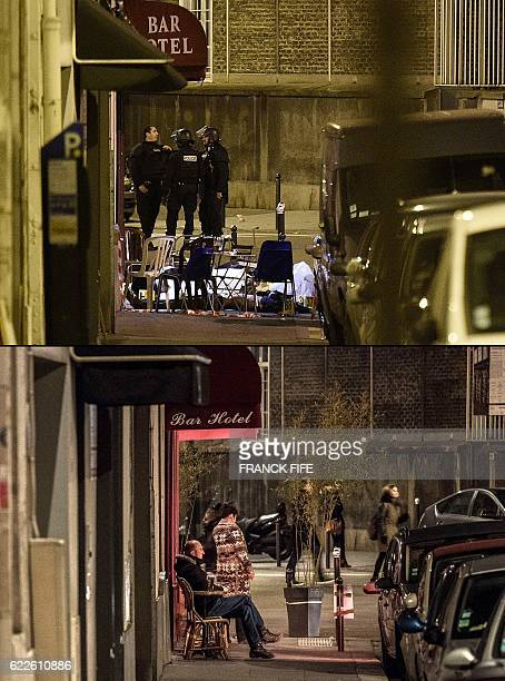 A combination made on November 12 2016 shows a file picture of a victim lying on the ground behind chairs following an attack in front of the 'Le...