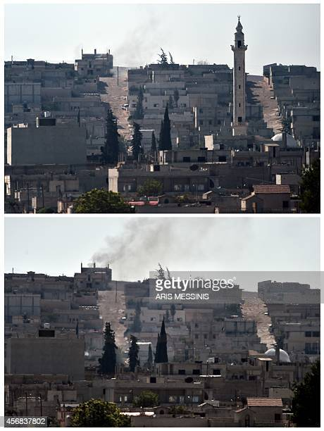 A combination made on October 8 2014 shows two pictures of the Syrian town of Ain alArab known as Kobane by the Kurds before and after a minaret...