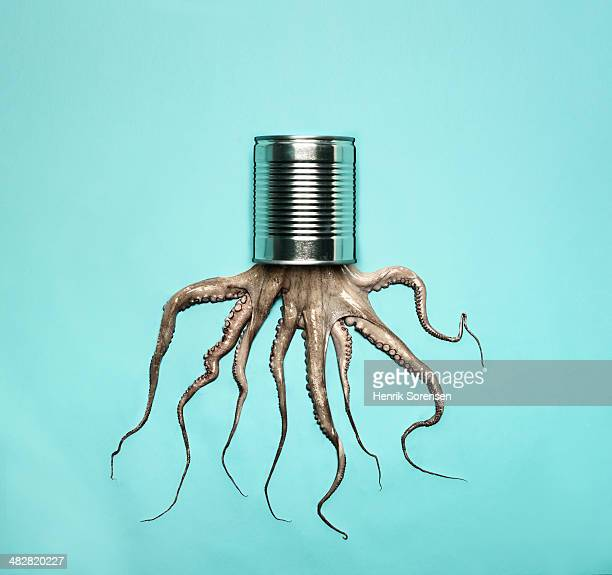 combination of a can and a octopus - octopus stock pictures, royalty-free photos & images