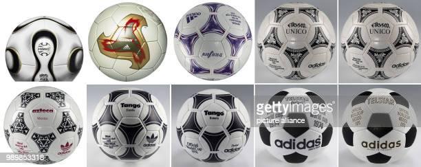Combination of adidas handouts from December 9th 2005 is presenting the adidas world cup footballs Telstart Telstar durlast Tango Tango Espana Azteca...