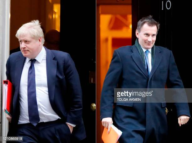 Combination of file pictures created in London on June 21, 2019 shows Britain's Foreign Secretary Boris Johnson leaving after attending the weekly...