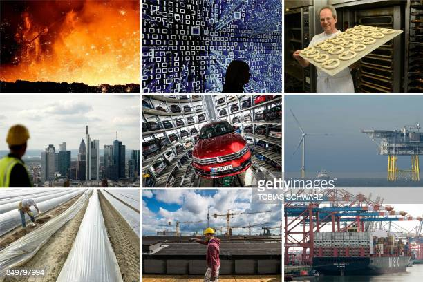 Combination of file pictures created on September 19, 2017 shows facets of German economy and industry : A melter putting sand on flowing steel at a...