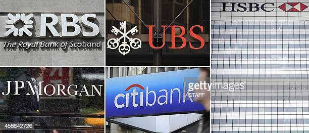 A combination of file pictures made in London on November 12 shows the logos of the Royal Bank of Scotland JP Morgan Chase UBS Citibank and HSBC...