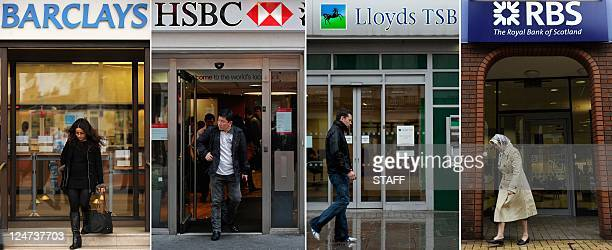 A combination of file pictures shows the high street branches of four British banks Barclays HSBC Lloyds Banking Group and Royal Bank of Scotland...