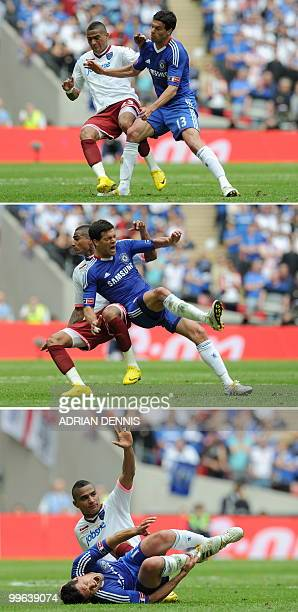 FILES A combination of file pictures taken on May 15 2010 shows Chelsea's German midfielder Michael Ballack react as he is tackled by Portsmouth's...