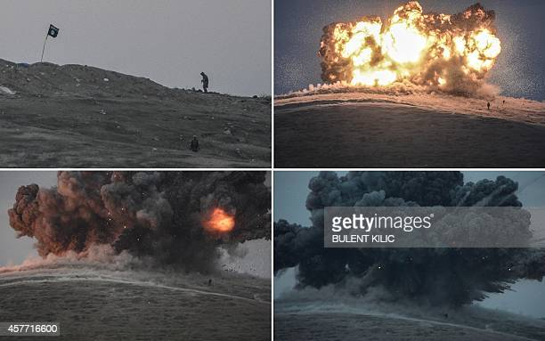 A combination of four images show from top left to bottom right militants of Islamic State seen just before and after an explosion from an air strike...