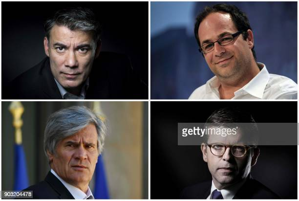A combination of four pictures made on January 10 2018 shows the four declared candidates for the leadership of French socialist party PS French MP...