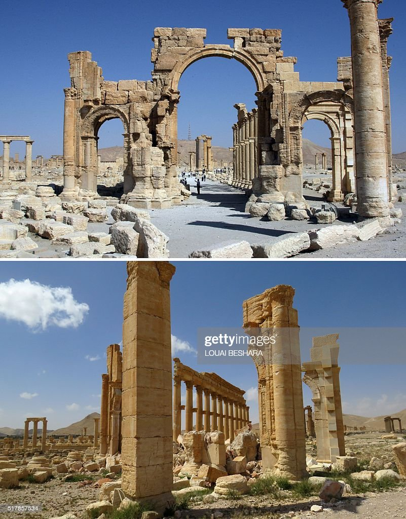 A combination of images shows a general view (top) taken on June 19, 2010 of the Arc de Troimphe (Triumph's Arc) prior to being destroyed by Islamic State (IS) group jihadists in October 2015 and the remains of the iconic structure after government troops recaptured the ancient city of Palmyra from IS fighters on March 27, 2016. Archaeologists were rushing to the ancient city of Palmyra on March 27, 2016 to assess the damage wreaked by the Islamic State group, after it was ousted by the Syrian army in a bloody battle. STRINGER