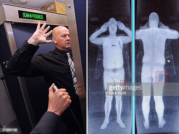 A combination of images shows an airport staff member demonstrating a full body scan at Manchester Airport in Manchester northwest England and a...