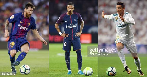A combination of images shows Barcelona's Argentinian forward Lionel Messi Paris SaintGermain's Brazilian striker Neymar and Real Madrid's Portuguese...
