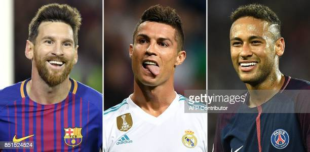 A combination of images shows Barcelona's Argentinian forward Lionel Messi Real Madrid's Portuguese forward Cristiano Ronaldo and Paris...