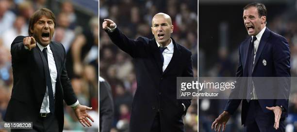 A combination of images shows Chelsea's Italian coach Antonio Conte Real Madrid's French coach Zinedine Zidane and Juventus' Italian coach...