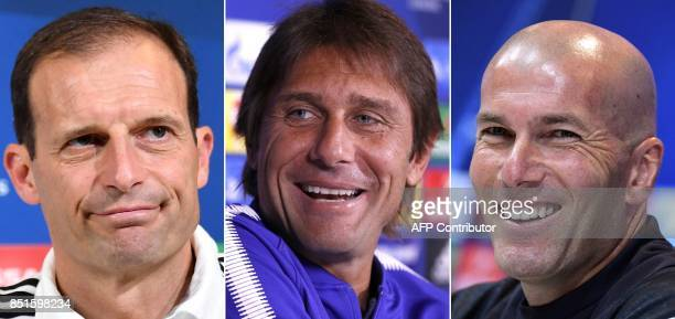 A combination of images shows Juventus' Italian coach Massimiliano Allegri Chelsea's Italian coach Antonio Conte and Real Madrid's French coach...