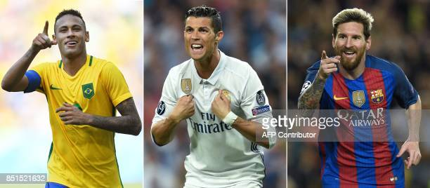 A combination of images shows Paris SaintGermain's Brazilian striker Neymar Real Madrid's Portuguese forward Cristiano Ronaldo and Barcelona's...