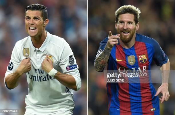 A combination of images shows Real Madrid's Portuguese forward Cristiano Ronaldo and Barcelona's Argentinian forward Lionel Messi Cristiano Ronaldo...