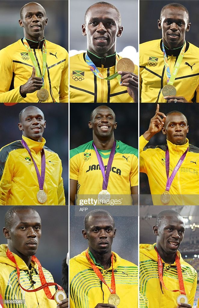 TOPSHOT - A combination of nine pictures made on August 20, 2016 shows Jamaica's sprinter Usain Bolt posing with his gold medals on the podiums of (from bottom to top) Beijing 2008, London 2012 and Rio 2016 Olympic Games during the victory ceremonies for (L-R) the 100m, 200m and 4x100m relay races. Bolt brought the curtain down on his Olympic career with a record-equalling ninth gold medal on August 19, 2016, anchoring Jamaica to relay glory in a perfectly-scripted finale to complete his unprecedented 'triple triple.' / AFP / STF