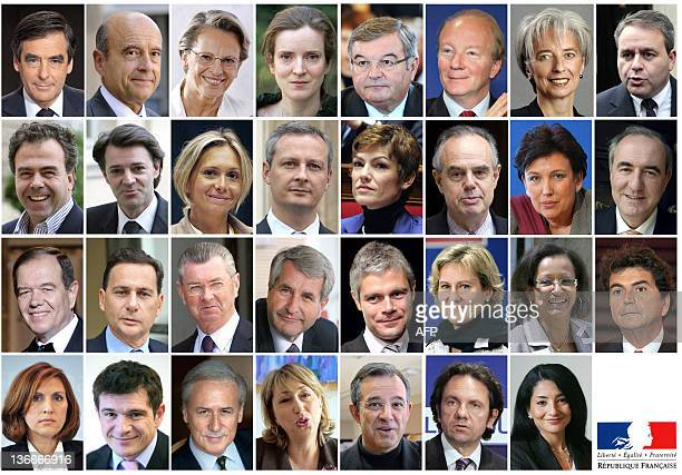 Combination of of members of the French government named on November 14, 2010. - Prime minister Francois Fillon, Defence and Veterans minister Alain...