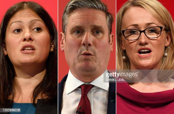 Combination of photographs created in London on February 24, 2020 shows the three Labour leadership candidates Lisa Nandy at conference in Brighton...